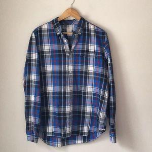 GAP Blue Plaid Cotton Button Down Shirt